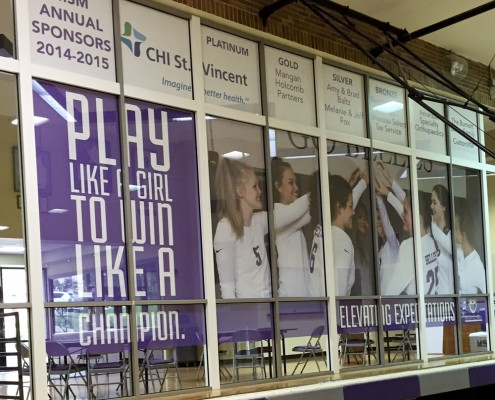 Mount St. Mary completed gym window graphics
