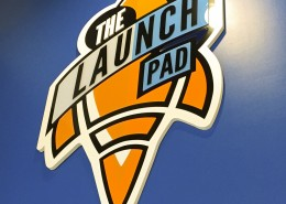 The Launch Pad dimensional sign