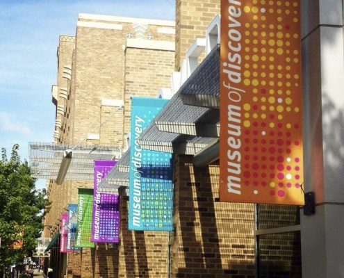 Museum of discovery hanging banners