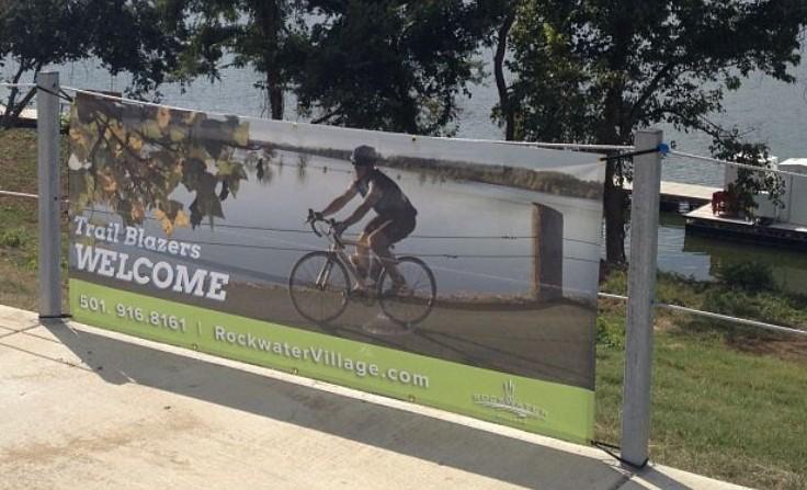 Mesh banner along walkway at Rockwater Marina.
